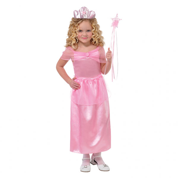 Girl wearing a pink Dress, Tiara and Wand