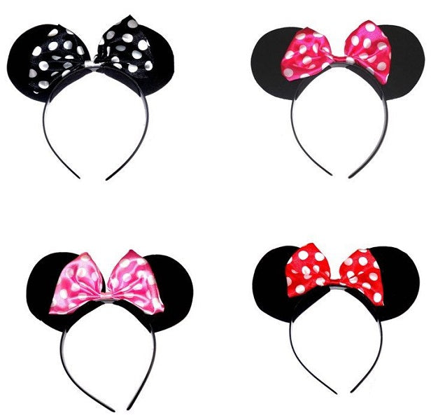 Mouse Ears Headband with spotted bows