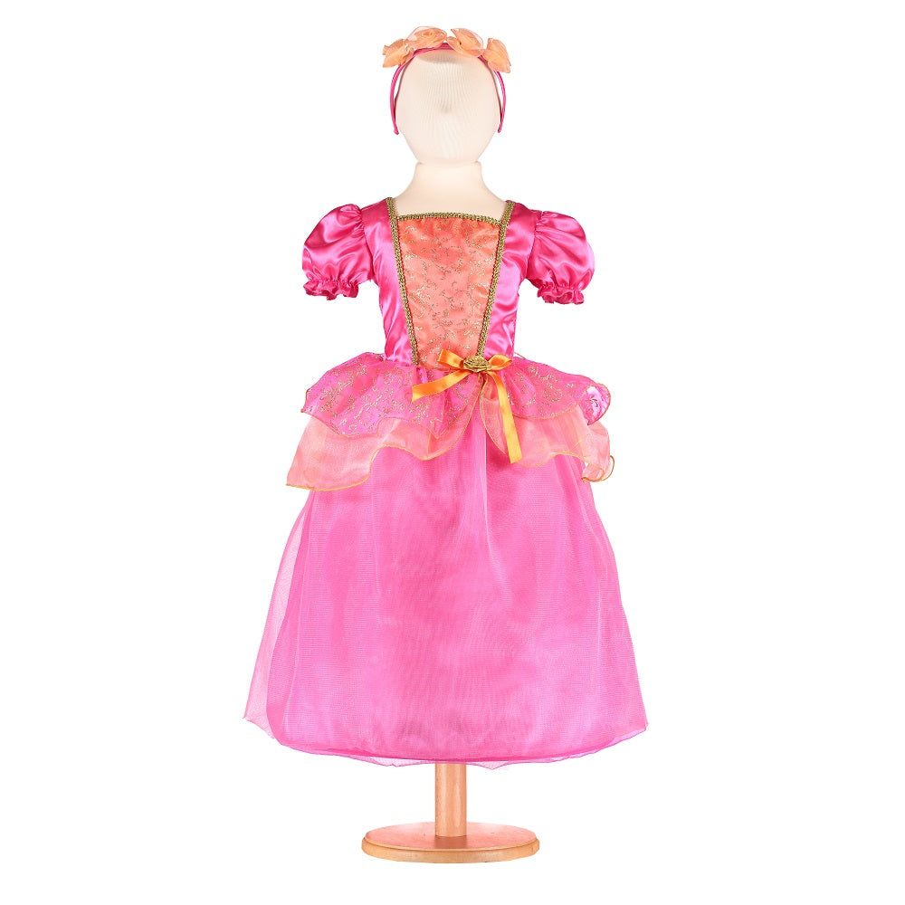 Vibrant orange and pink Princess costume with matching headband on a mannequin