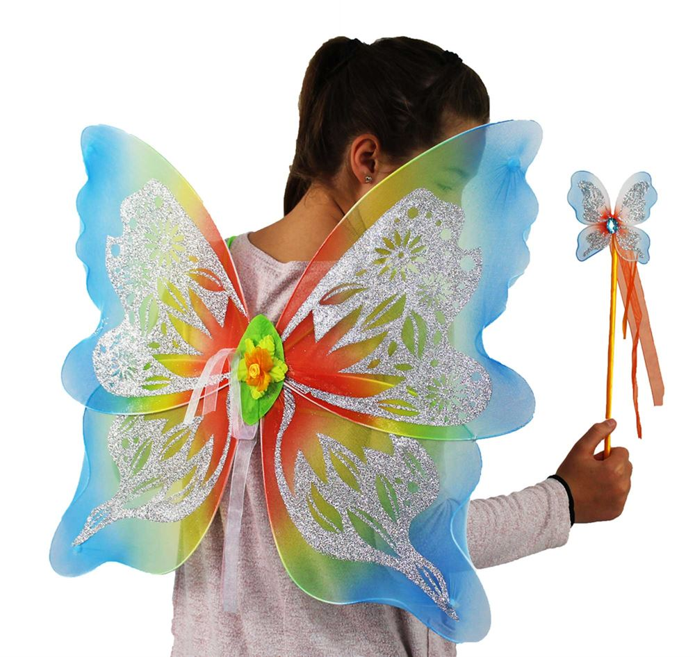 Girl wearing Large Rainbow Fairy Wings and holding a wand