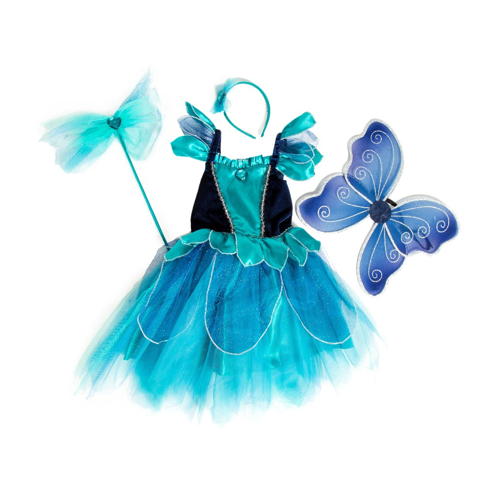 Sapphire Blue Fairy Set with dress, wings, wand and headband