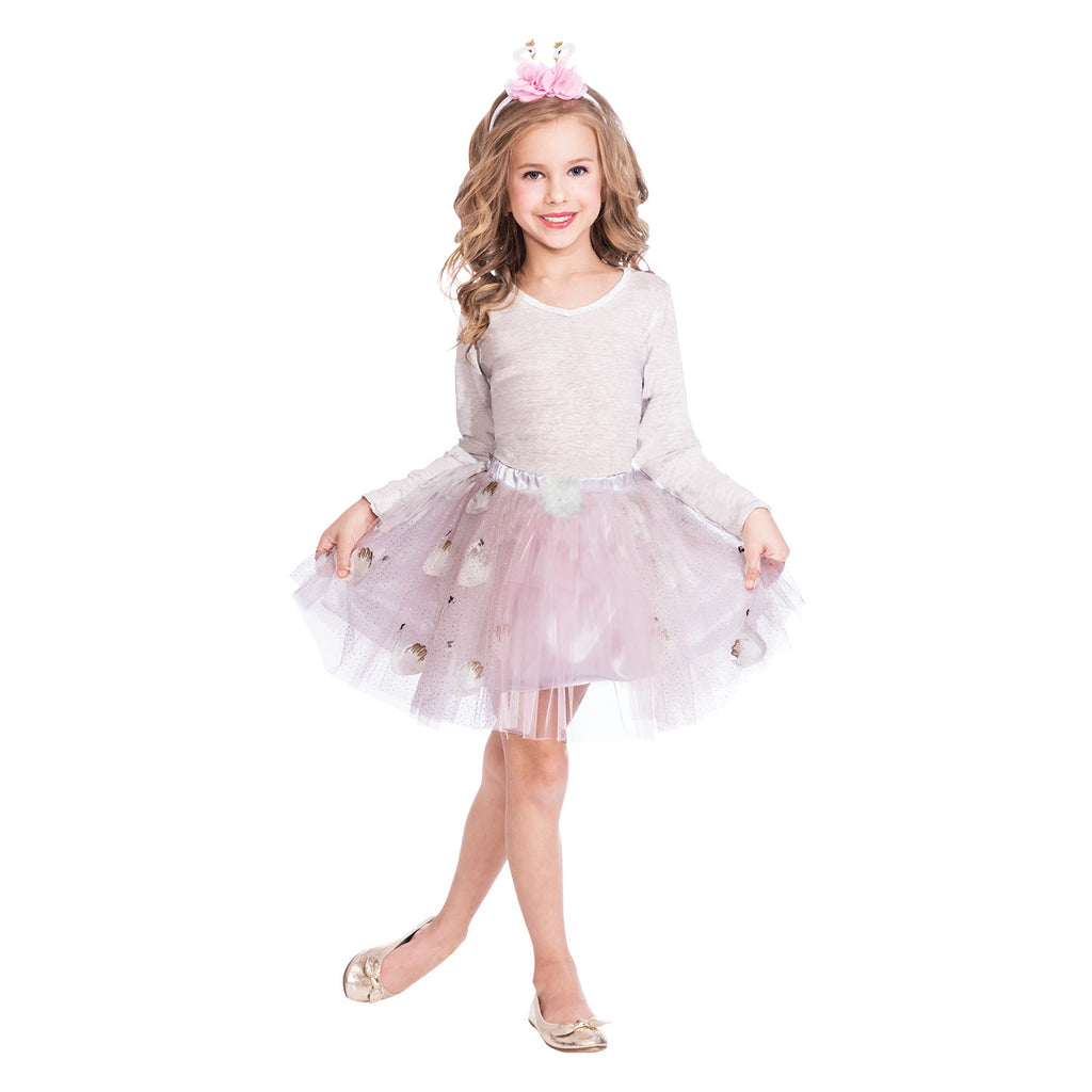 girls pink swan dress up set with pink tutu and headband