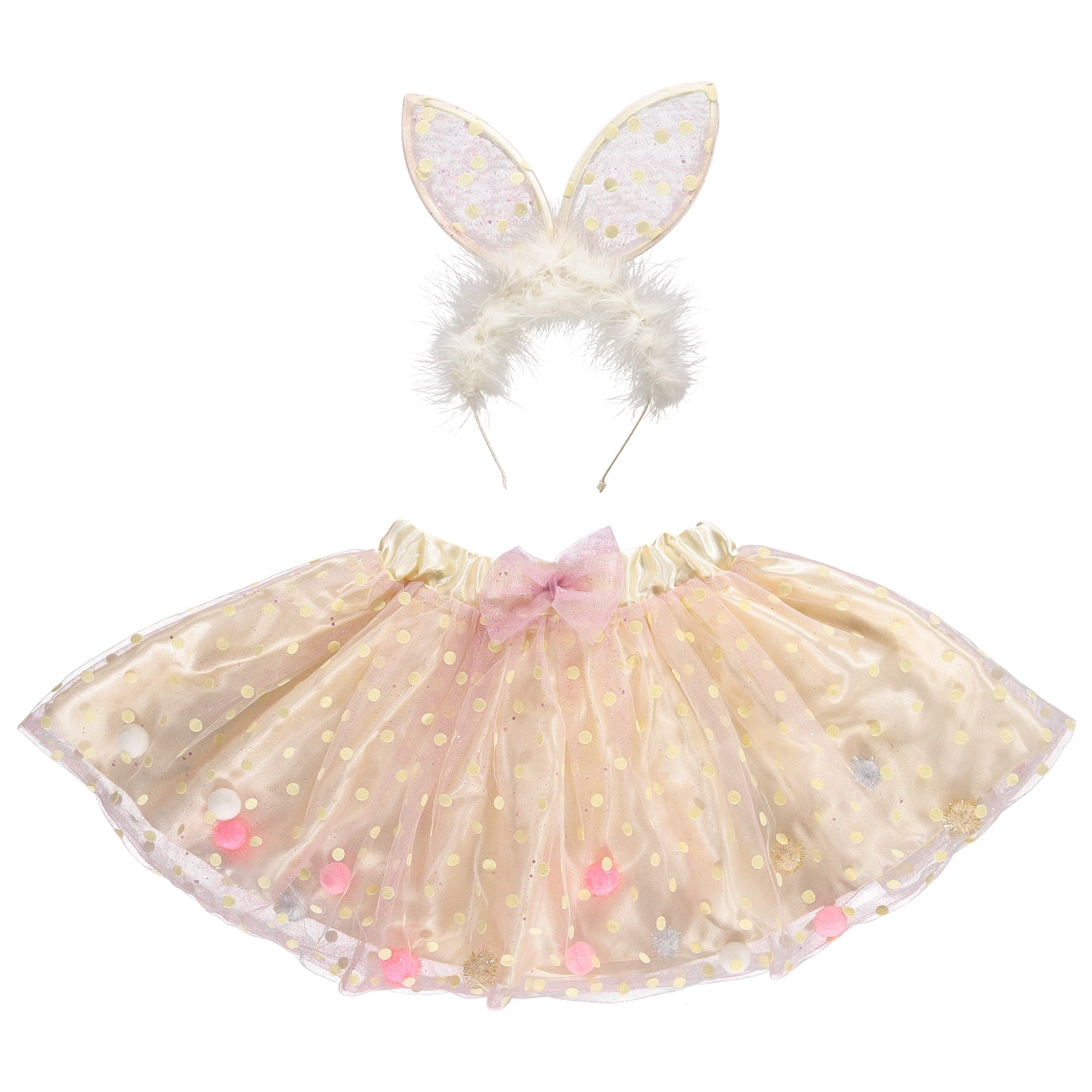 girls pink tulle tutu and rabbit ear headband