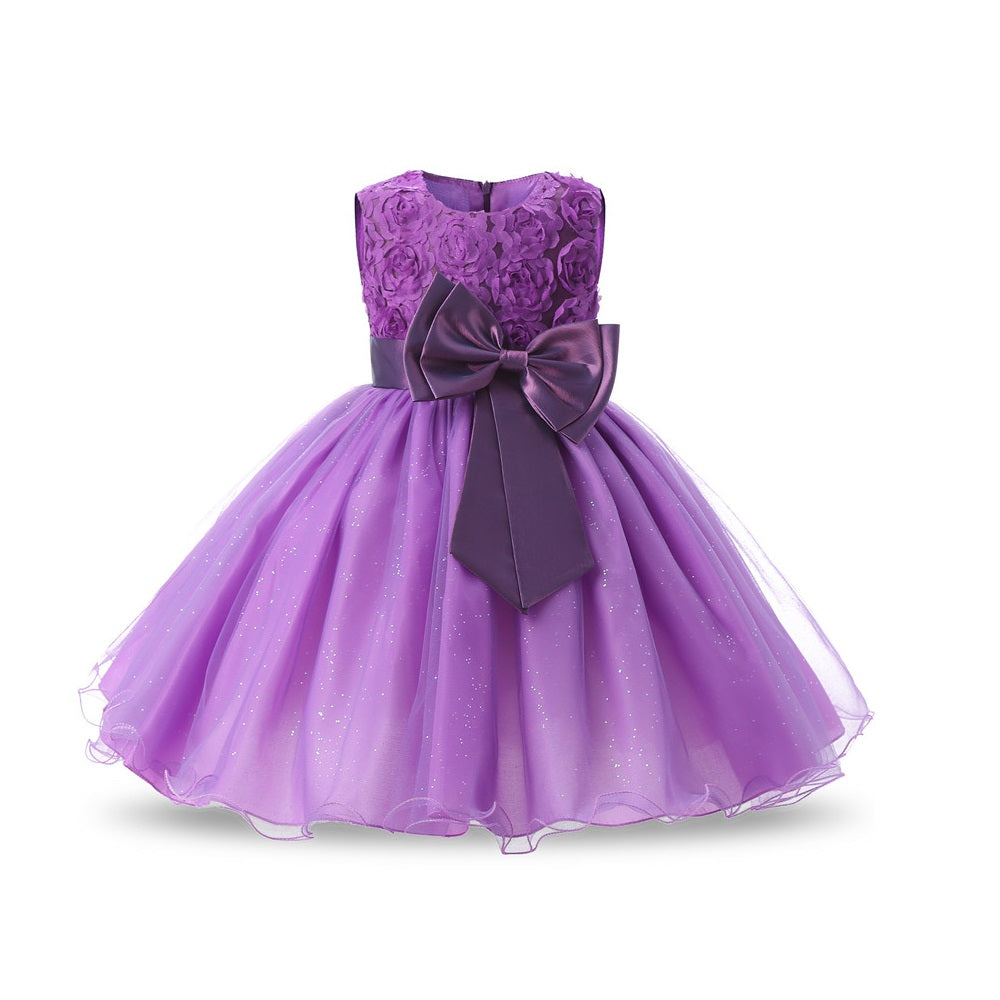Girls purple taffeta dress with bow detail on front