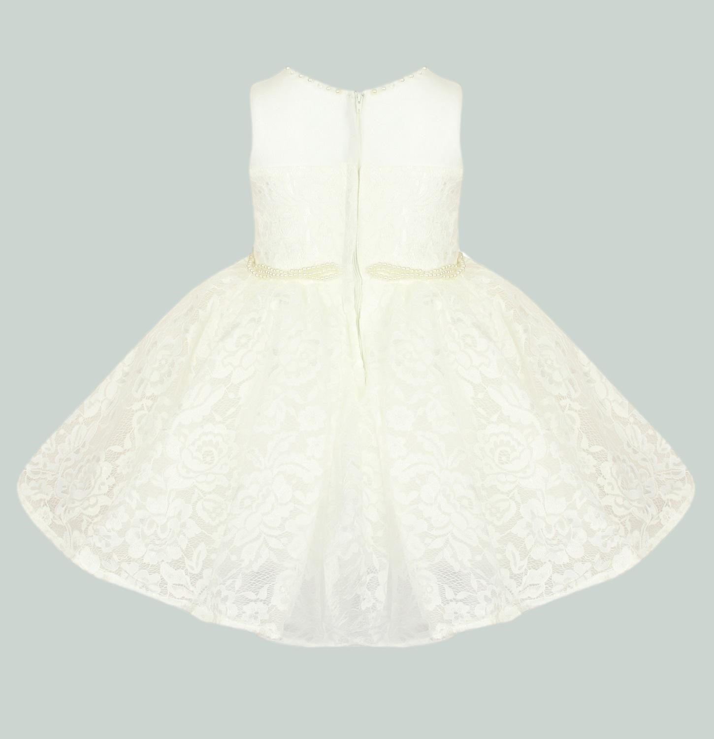 Ivory coloured girls lace party dress