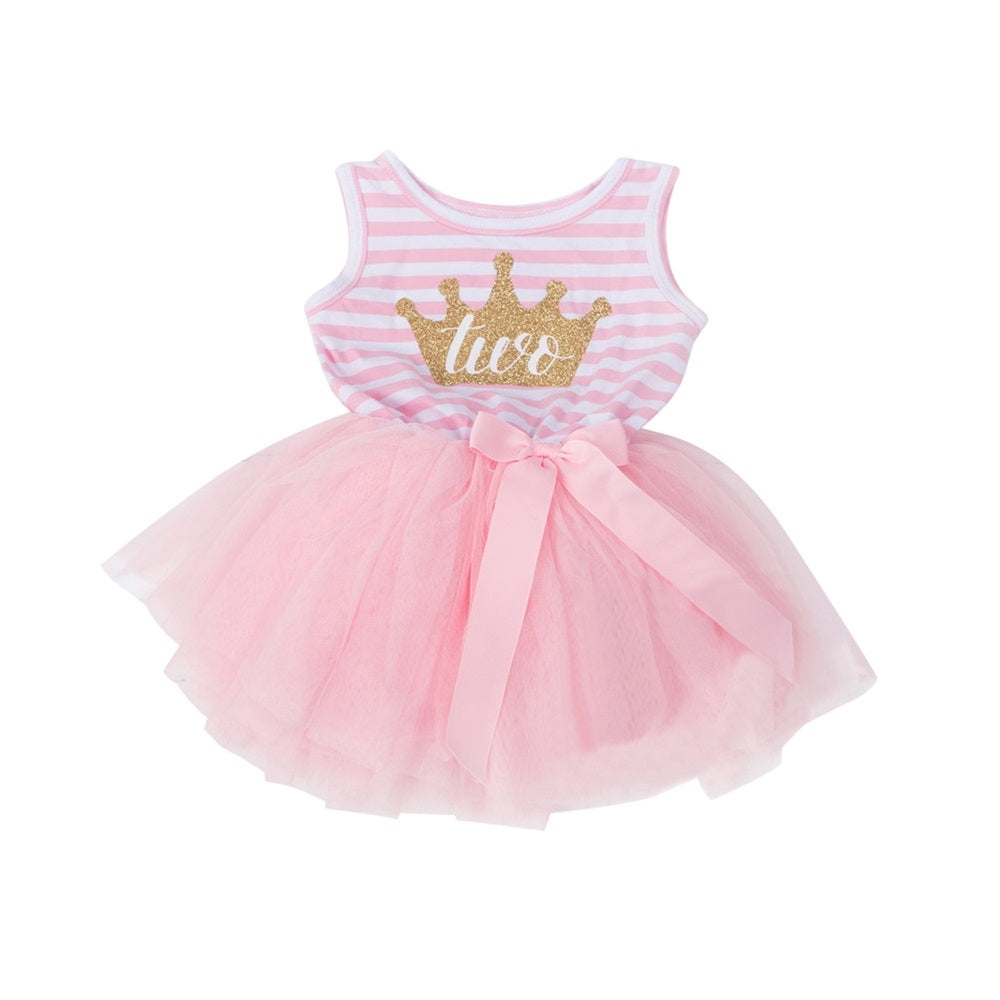 Toddlers pink and white birthday dress