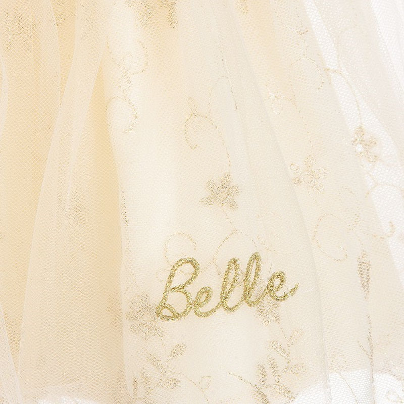 Beele embroidered onto a girls dress