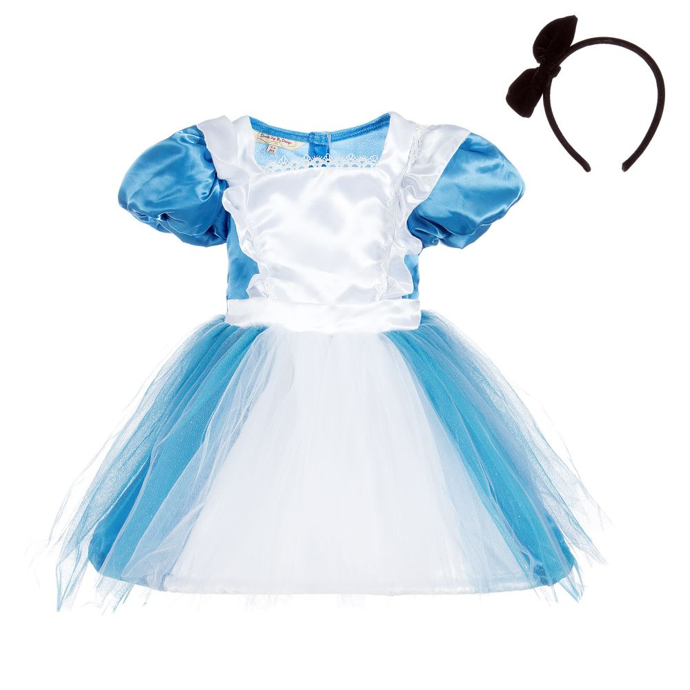 quality satin and tulle blue and white  Alice dress, with black headband