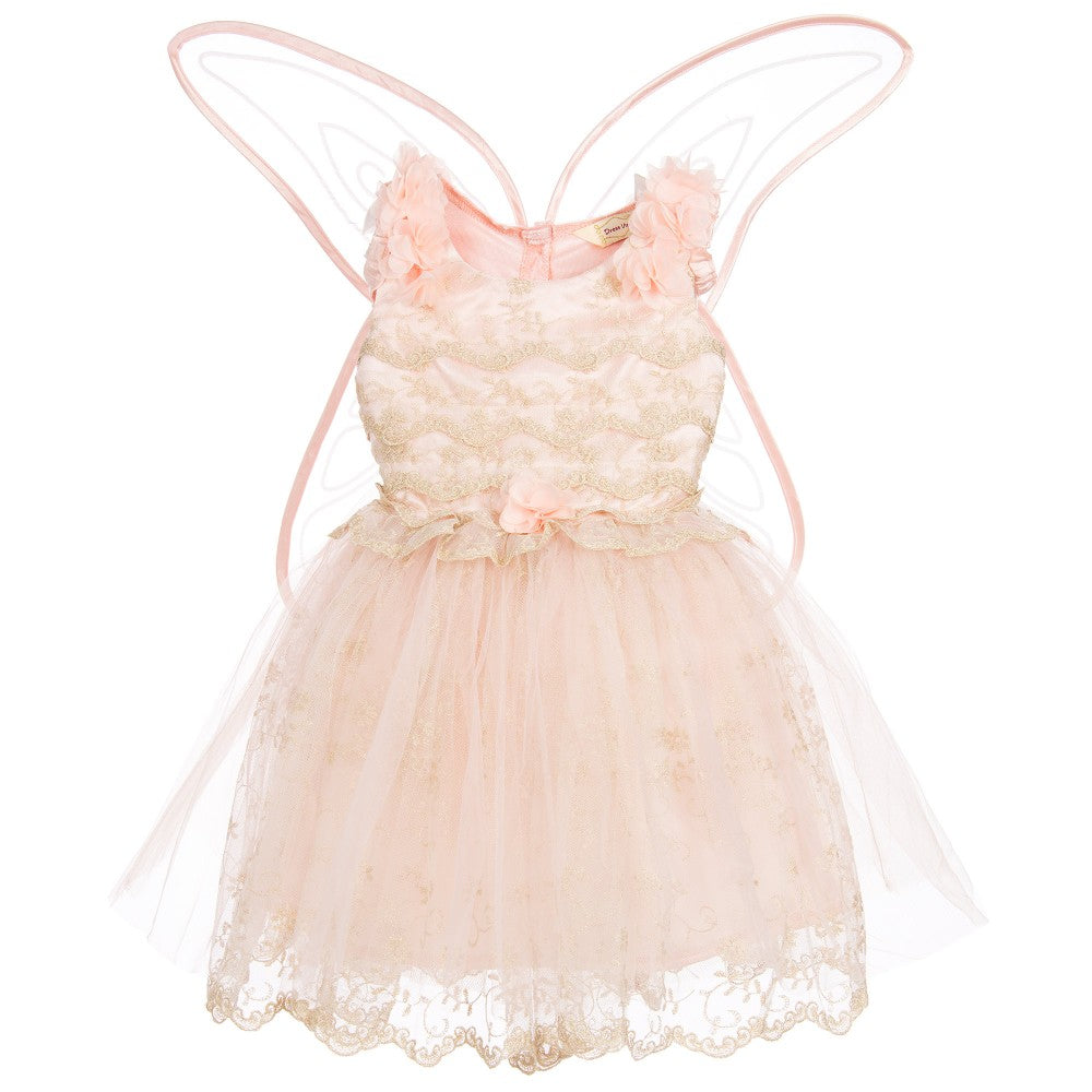 vintage soft peach fairy costume has an embroidered gold lace bodice, pretty flower sleeves with coordinating glitter wings.
