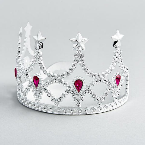 Girls dress up Jewel Crown in silver and red