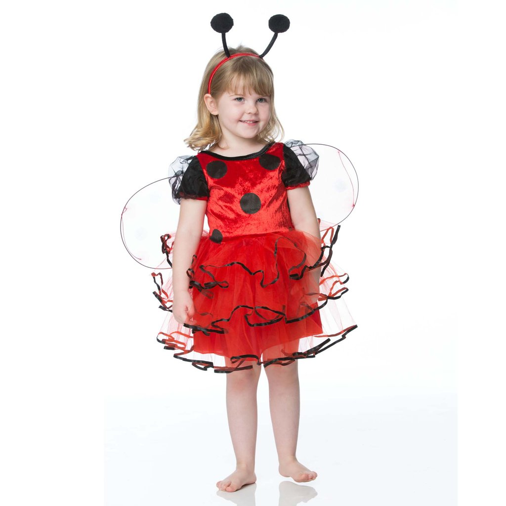Girl wearing a red and black Ladybug costume