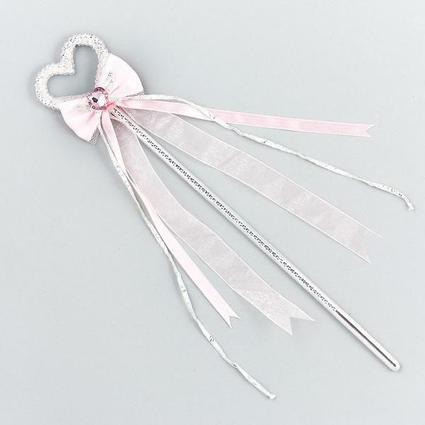 Silver and pink Jewel Ribbon Bow Wand