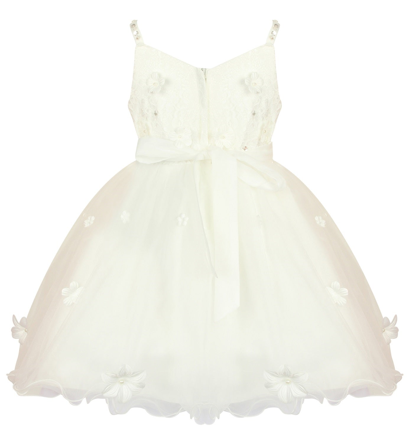 ivory flower girls dress, adorned with petals, pearls and shimmering sequins