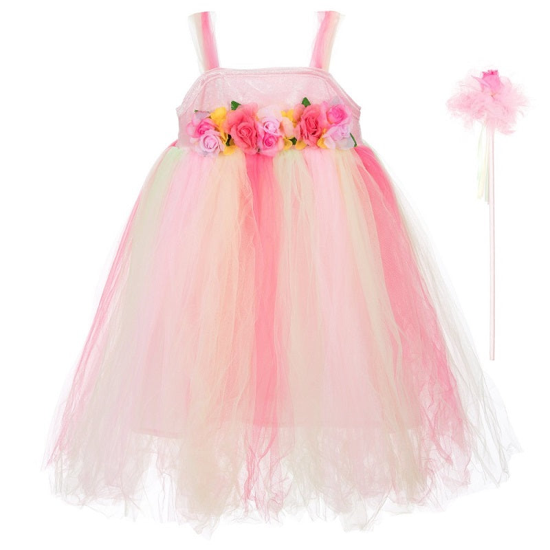 Girls pink and yellow 'Summer Fairy' dress-up costume
