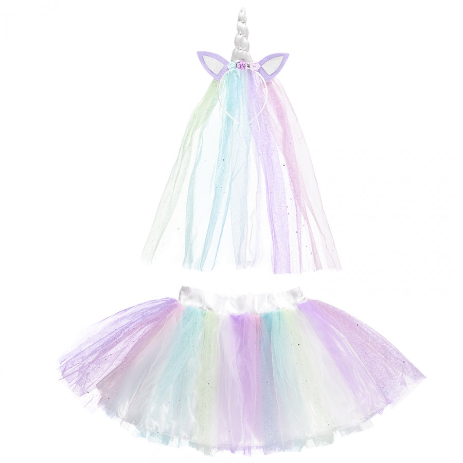 Pastel coloured glittered layers of tulle and feature unicorn horn headband dress up set