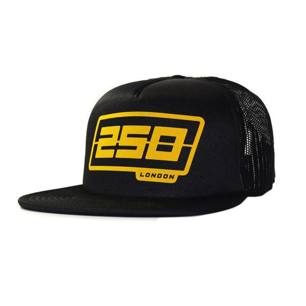 Bubble Logo Trucker Hat, Black/Yellow