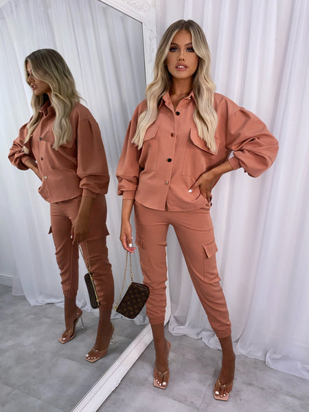 Ella Cargo Two Piece - Dark Peach