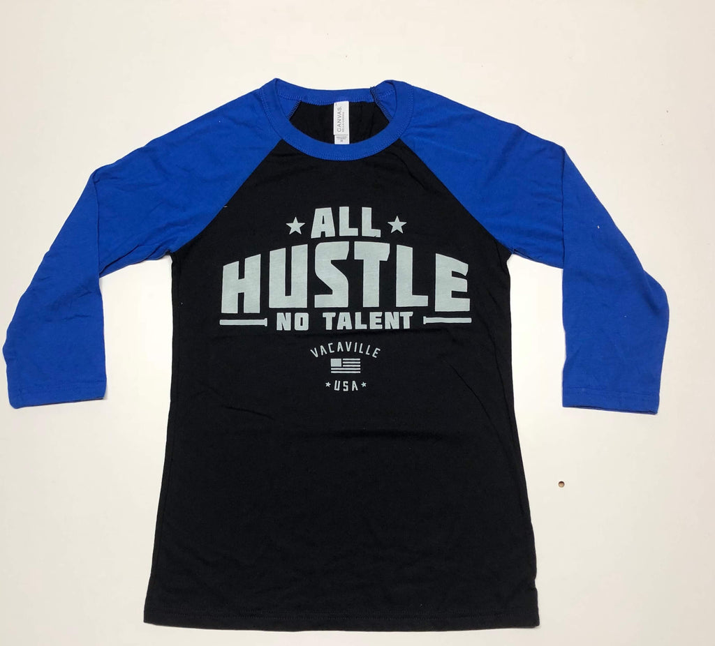 Male/Female 3/4 Sleeve Raglan Blue/Black