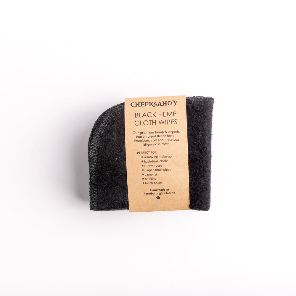 Reusable Black Hemp Cloth Wipes