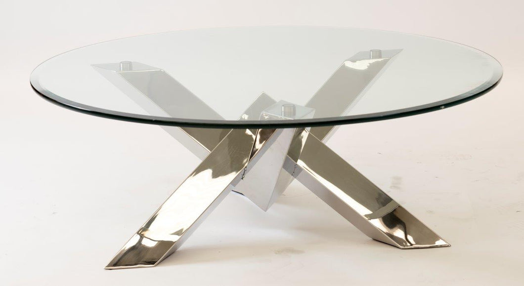 COFFEE TABLE STAINLESS STEEL HIGH POLISHED
