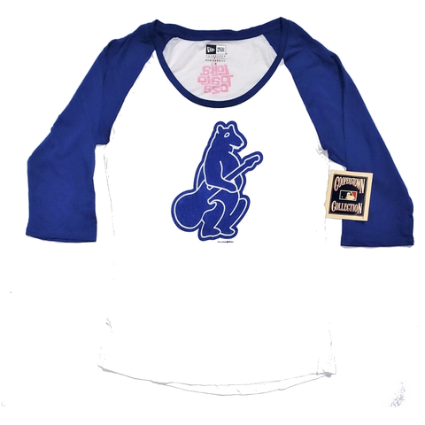 Women's Cubs White-Royal Raglan