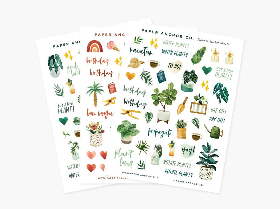 Plant Lover Planner & Sticker Sheets by Paper Anchor (set of 3)