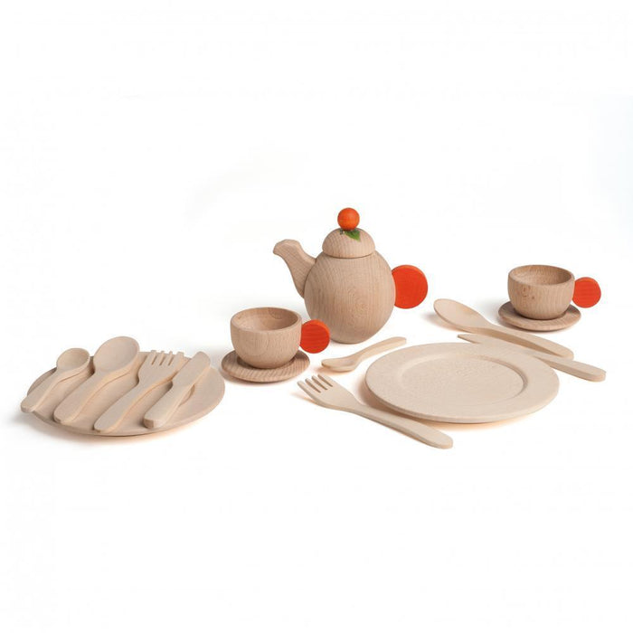 natural wooden toy table serving set for children