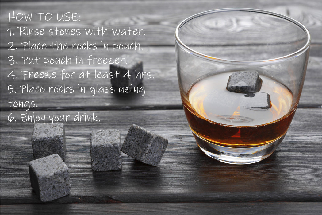 coupleDots Whiskey Stones and Stainless Steel Drinking Straw Set