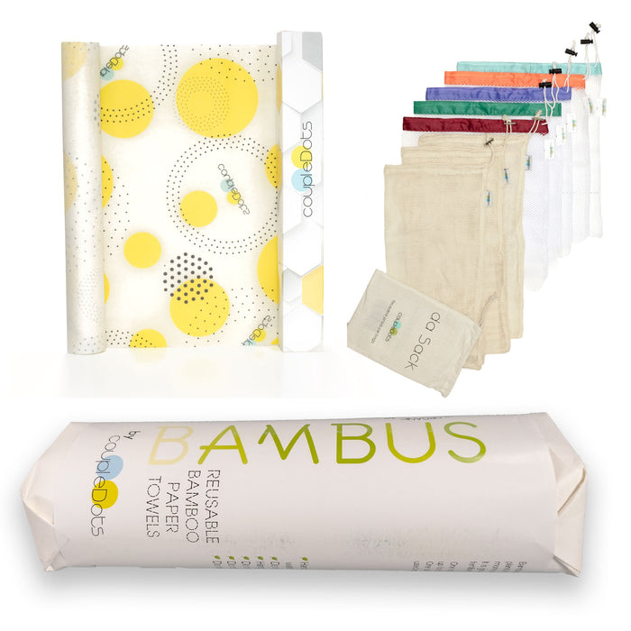 Kitchen Combo - Beeswax Food Wrap roll + Bamboo Paper Towel + Reusable Produce Bags