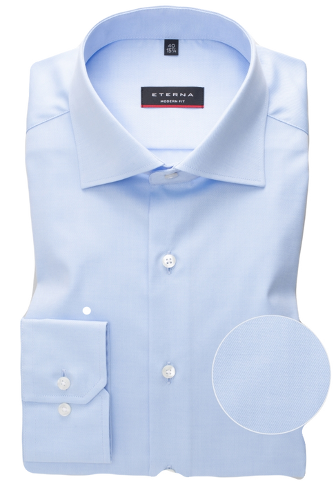 Eterna Blue Twill Dress Shirt