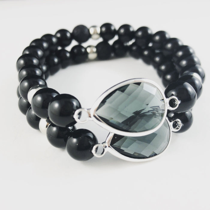 Onyx and Black Rhinestone Diffuser Bracelet in Silver