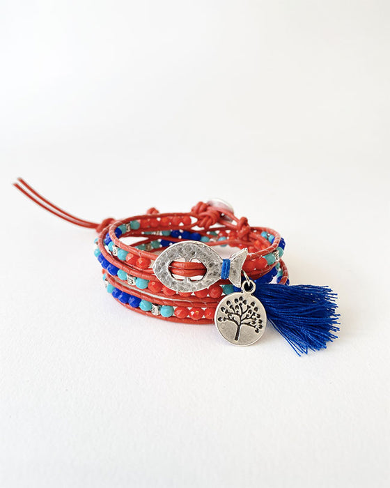 Forest City Bracelet Red-Blue-Turquoise