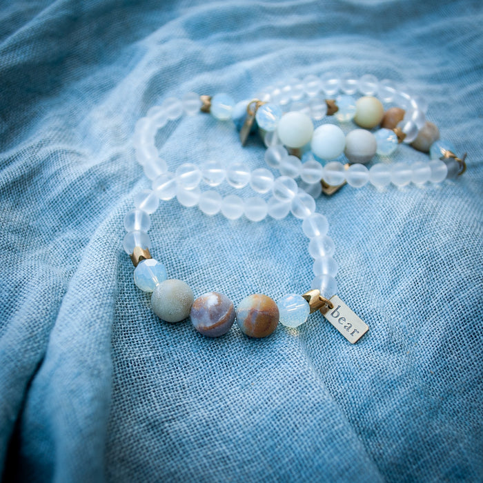 Eau Bracelet- Crystal Quartz + Amazonite