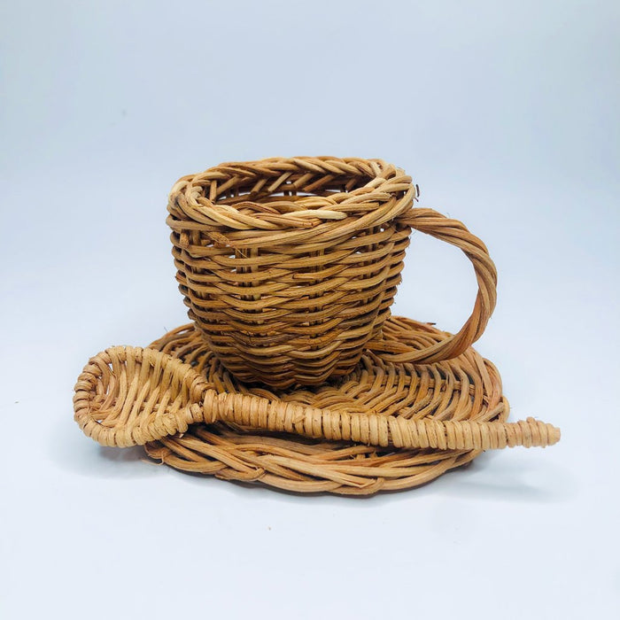 handmade rattan tea set | wicker wood toy set