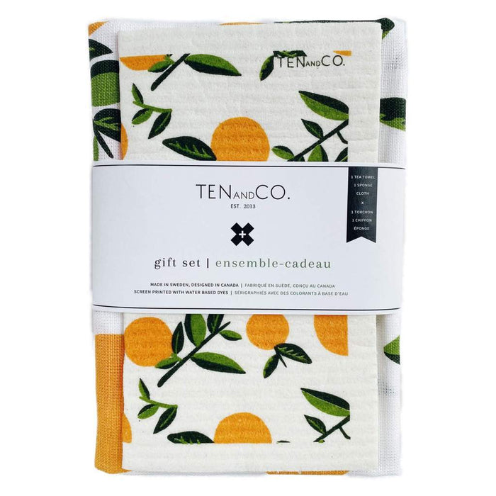 swedish sponge cloth and tea towel citrus gift set