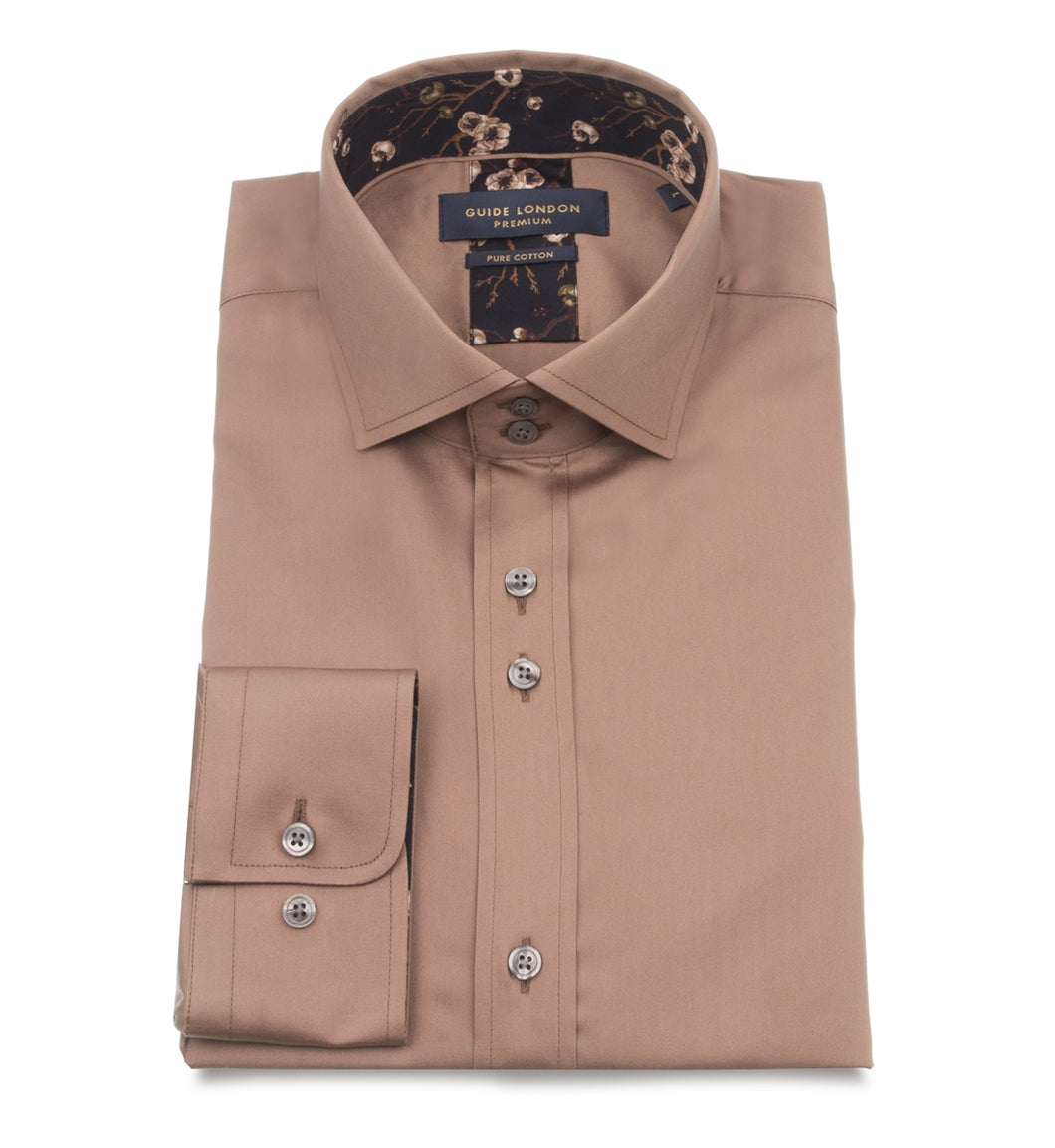 Guide London Trim Detail Shirt Tan