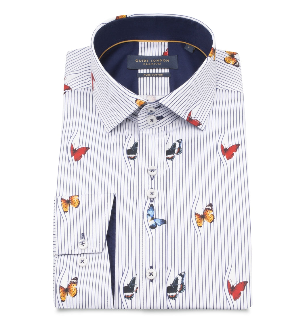 Guide London Stripe Butterfly Print Shirt White