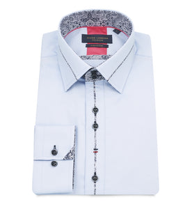 Guide London Collar and Placket Trim Shirt Sky Blue