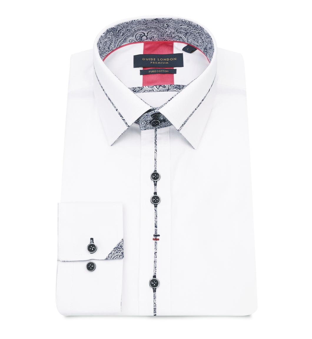 Guide London Collar and Placket Trim Shirt White