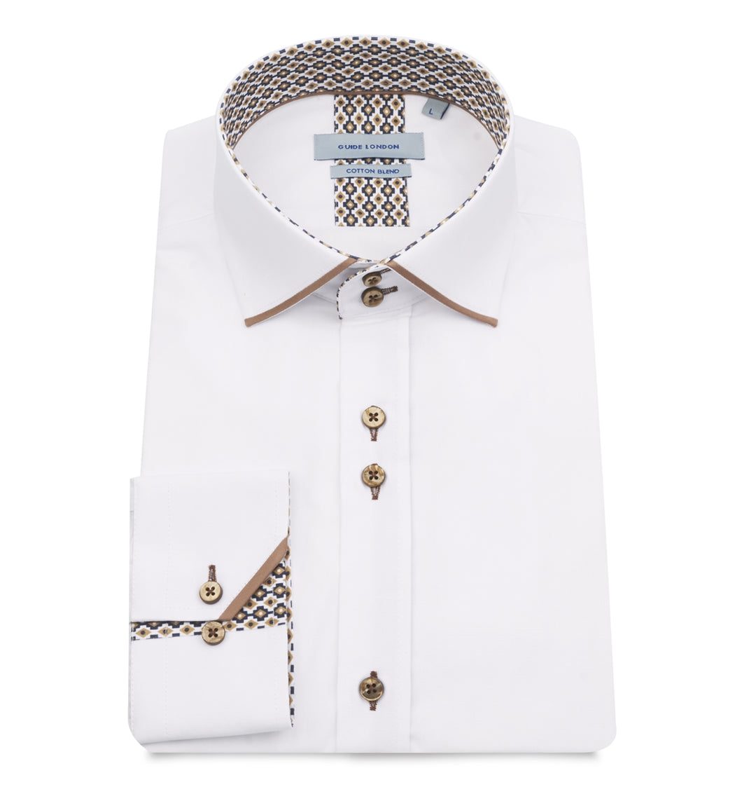 Guide London Collar and Cuff Trim Shirt White