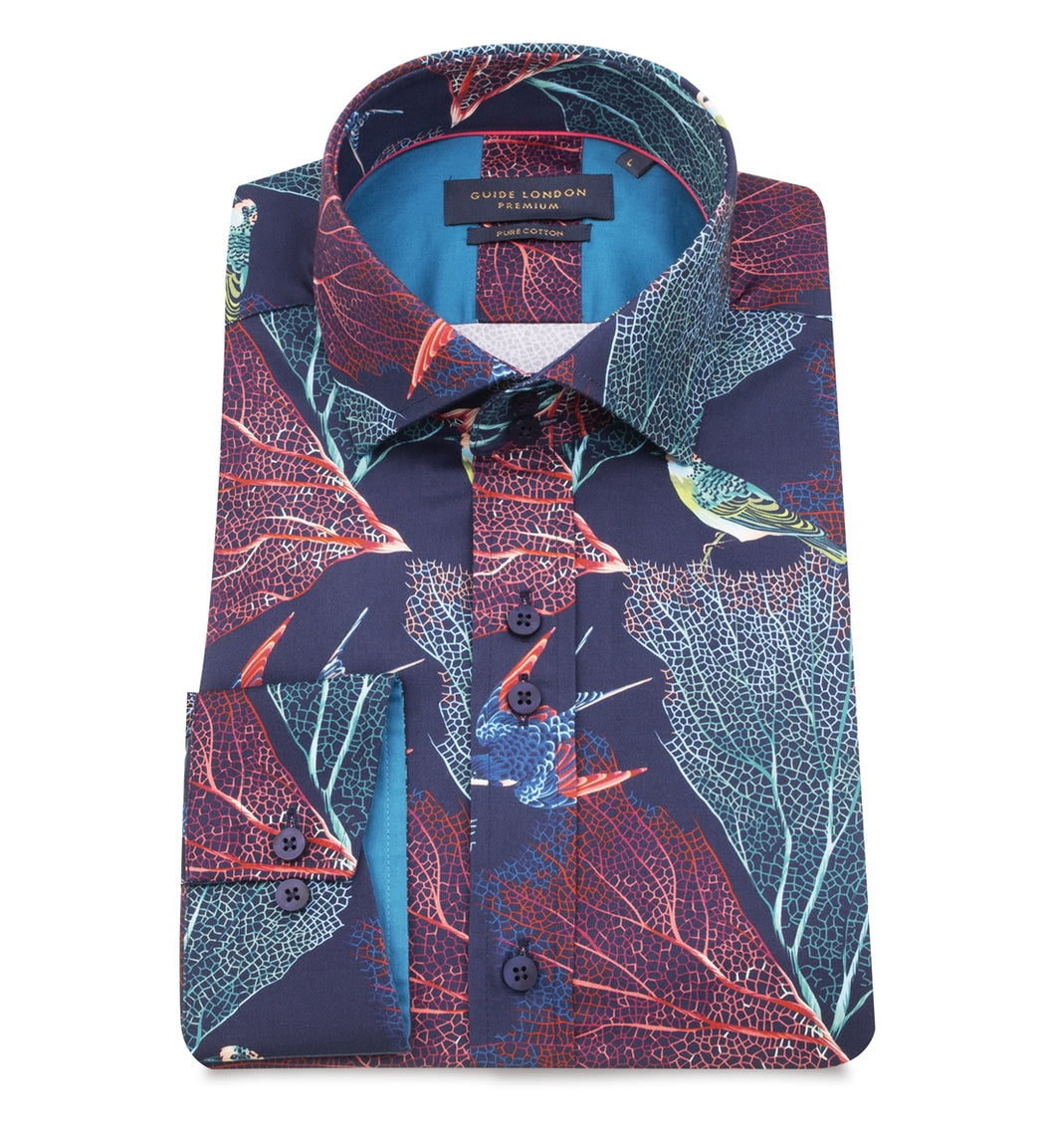 Guide London Leaf Parrot Print Shirt Navy