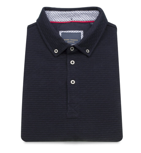 Guide London Textured Polo Jersey Navy