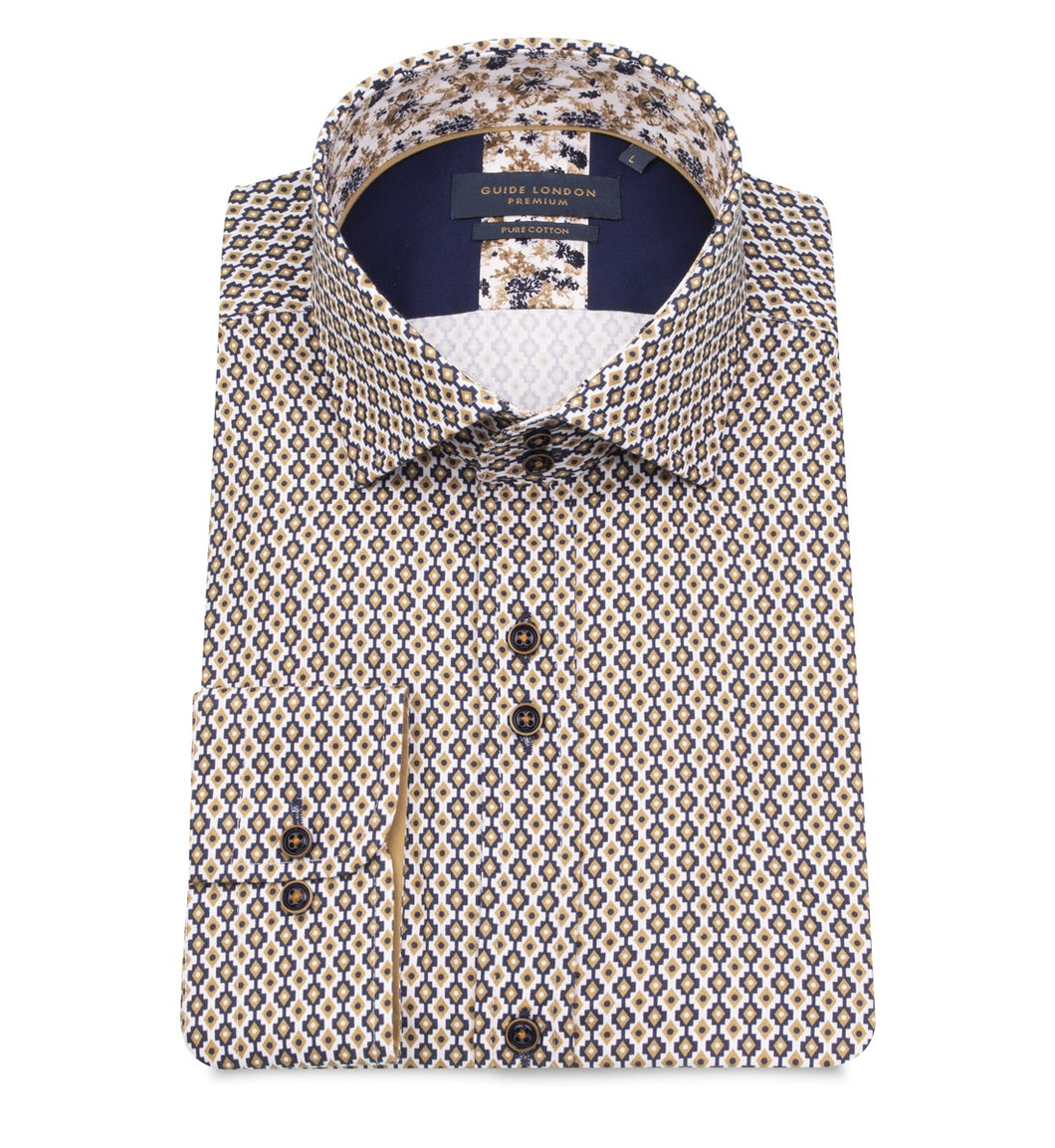 Guide London Geometric Printed Shirt Tan
