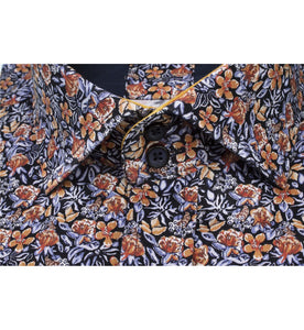 Guide London Small Floral Print Shirt Orange and Blue