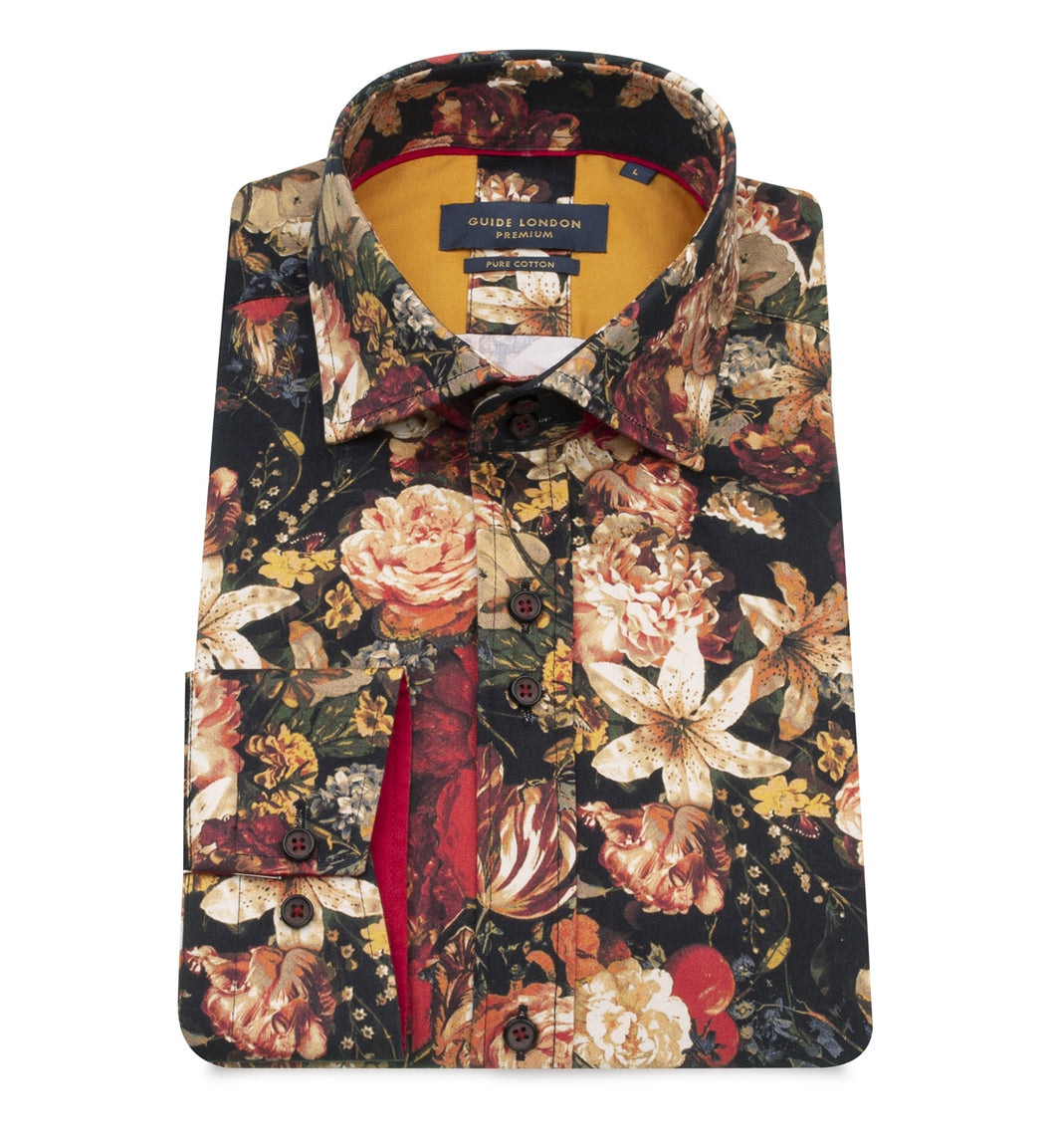 Guide London Deep Floral Print Shirt Burgundy