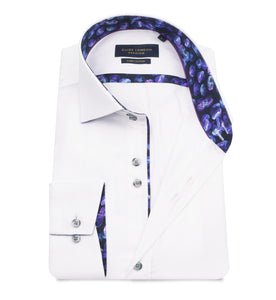 Guide London Plain Shirt with Trim White