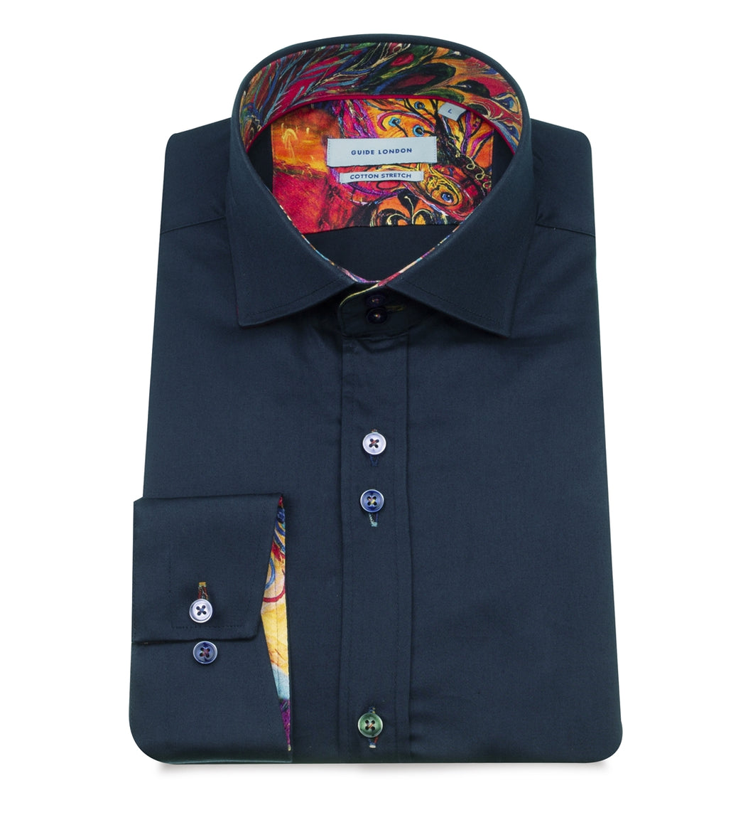 Guide London Stretch Trim Shirt Navy