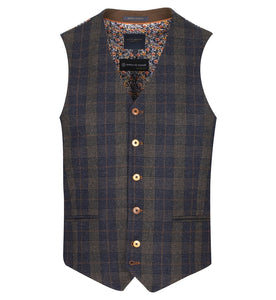 Guide London Navy Check Waistcoat