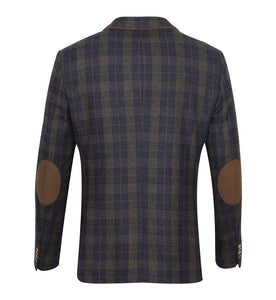Guide London Navy Check Jacket with Tan Trim