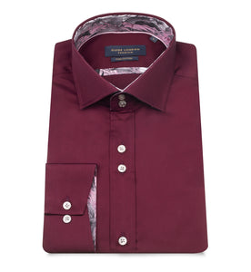 Guide London Satin Cotton Shirt Burgundy